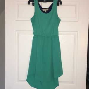 Pink Rose green high-low dress size S